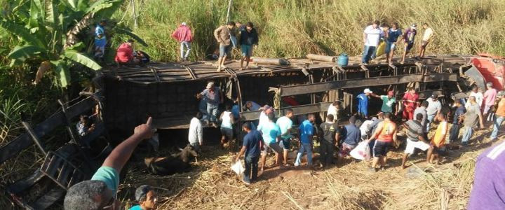 Caminhão com bois tomba em rodovia e população abate os sobreviventes
