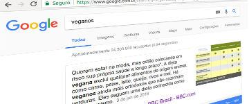 """Pesquisa pelo termo """"veganos"""" no Google traz reportagem tendenciosa da BBC em destaque"""
